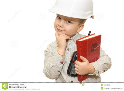 Child Pretending To Be An Engineer Royalty Free Stock
